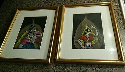 2 Framed India Painting Pipal Leaf Art Oil Painting Women Glass Picture Leaves