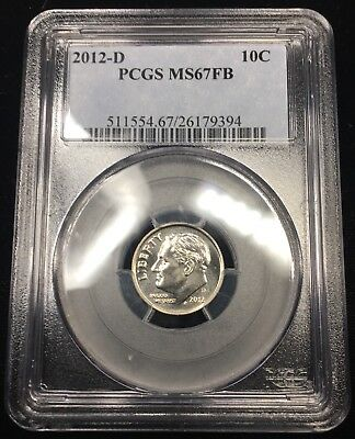 2012-D Roosevelt Dime - Pcgs Ms67Fb - Full Bands - Only 3 In Higher Grade