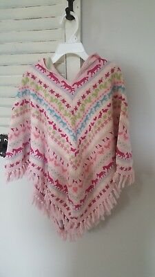 Baby Gap Girls Knit Hooded Poncho, light pink, Size 5T