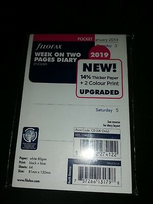 Filofax Pocket 2019 Week on Two Pages Diary White Refill Insert 19-68221