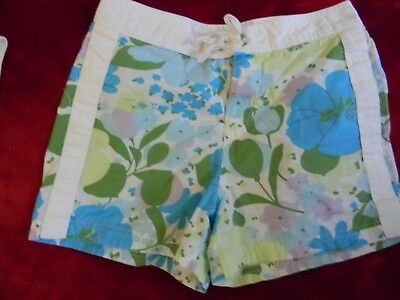 Vintage Girls size 8 Old Navy floral cotton blue green purple white shorts