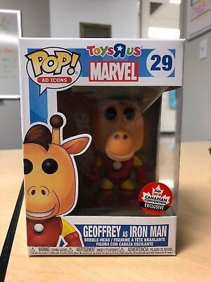 Funko Pop Ad Icon Geoffrey Giraffe as Iron Man #29 IN HAND Canadian Convention!