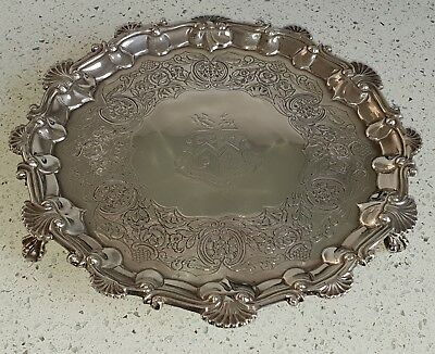 Antique Georgian Sterling Silver salver Barak Mewburn 1827 Arthur monogram Irish