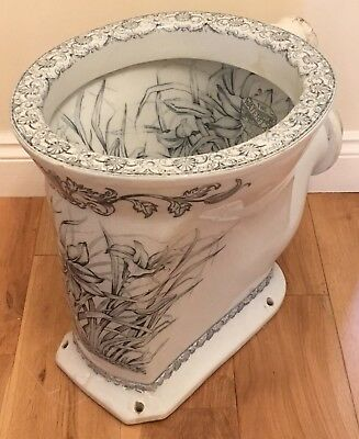 Antique Victorian High Level Toilet Stunning Blue Floral Transfer The Waterfall