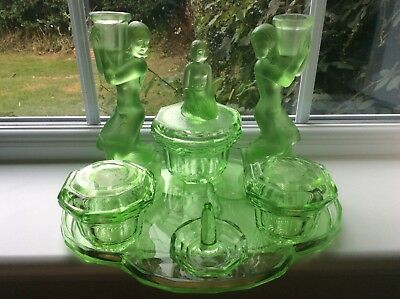A Fine Art Deco Walther & Sohne Egyptian? Green Uranium Glass Dressing Table Set