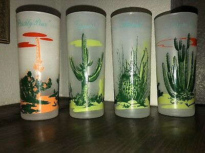 Set of 4 Vintage Blakely Oil & Gas Arizona Cactus Frosted Glass Tall Tumblers