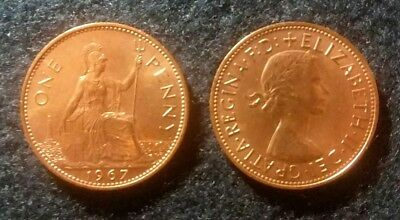 Lot of two 1967 UK One Penny Coins - Elizabeth II - Great Britain - England