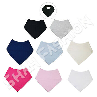 Baby Boys Girls 100% Cotton Plain Bandana Bib 3 Pack Bundle Or Singles Bib