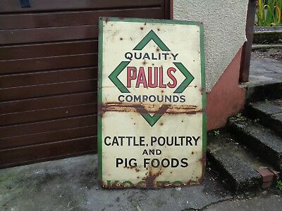 Vintage large heavy enamel metal advertising sign, Cattle, Poultry and Pig food
