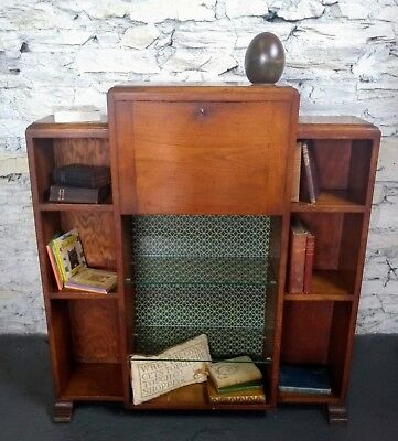 Art Deco Writing Bureau and Bookcase