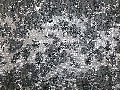 """Exquisite Finest Antique Handmade Black Lace Scarf 90"""" x 10.75"""" Chantilly (?)"""