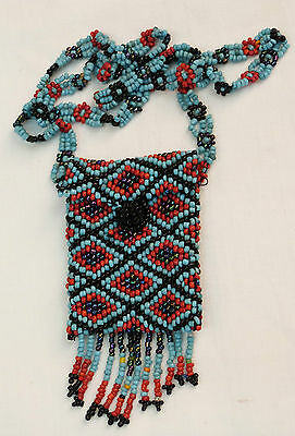 Vintage 70s Greek Bead Beadwork Pendant Necklace Small Bag Purse Hand made