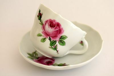 Antique MEISSEN Pink Rose Espresso Demitasse Cup & Saucer -Old Blue X Sword Mark