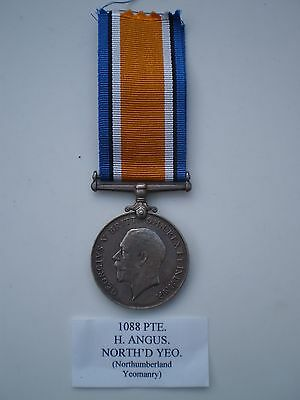 WW 1 British War Medal Awarded to Pte. H. Angus Northumberland Hussars