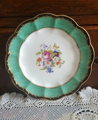 George Jones & Sons Crescent Plate Floral Green Gold