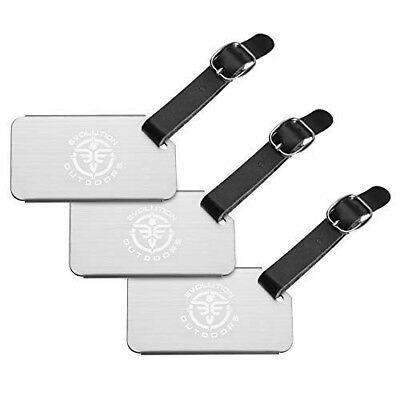 3Pk. Stainless Steel Metal Travel Luggage Baggage Suitcase Address Tags Label