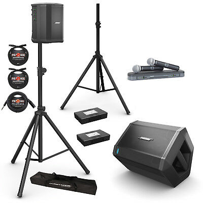 Bose S1 Pro PA System (Pair) w/ Batteries, Shure BLX288/PG58 Mic System