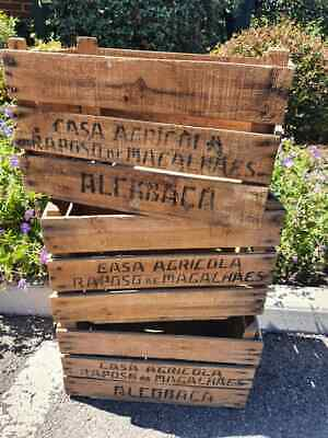 Old Wooden English Vintage Traditional Fruit Crate Bushel Box - 1950s - 1970s...