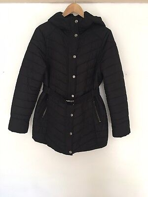 H&m Mama Maternity Black Quilted Coat Jacket Size M
