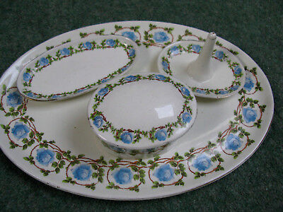 George Jones & sons CRESCENT England vanity jewellery beauty pottery 4 piece set