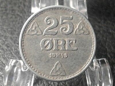 "1943 25c Norway : ""Haakon VII Era"" :  twenty five ore coin : #474"