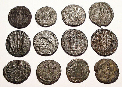 Lot of 12 Æ3-4 Ancient Roman Bronze Coins from III.-IV. Century