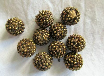 ANTIQUE 19th CENTURY LOT OF 10 HAND MADE GOLD BEADWORK/COTTON THREADWORK BUTTONS