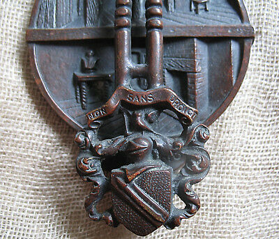 VINTAGE BRASS DOOR KNOCKER SHAKESPEARE's BIRTHPLACE BRONZE FINISH