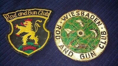 US Army base Rod and Gun Club patches. Wiesbaden and Heidelberg.  German Made