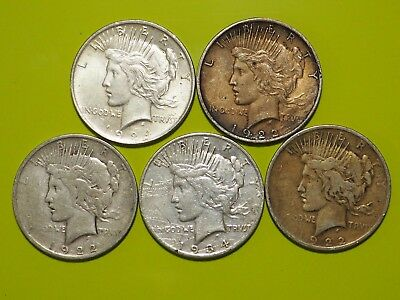 1922-1935 Peace Silver Dollar Culls Lot of 5 Coins