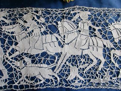 """Antique Hand Made Italian Figural Needle Lace Runner~Knights~Falconry~Horses~42"""""""