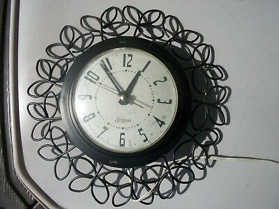 VINTAGE OLD SESSIONS ROUND electric WALL CLOCK black model 46145