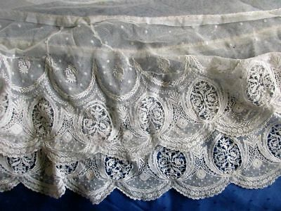 "ANTIQUE FINELY EMBROIDERED COTTON NET LACE PETTICOAT/DRESS EDGING~TRIM~64"" x 21"""