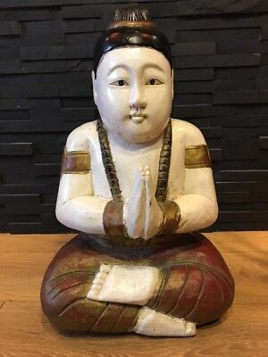 Large Beautiful vintage hand carved wooden buddha heavy   54x 34x 24cm👍