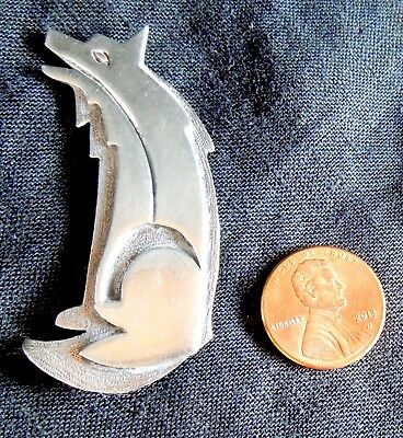 Navajo STERLING Pin WOLF or COYOTE *Heart-Line *Artistic Texture* Signed R.M.J.
