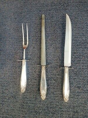 Three Piece Sterling Silver and Stainless Carving Set