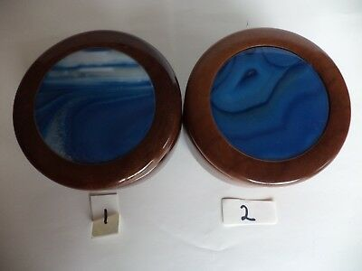 Made In Brazil Wood Trinket Box With Blue Agate Lid, Specify #1 Or #2