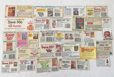 25 Vintage Cereal / Breakfast Items Store Coupons 1980's No Expiration Dates