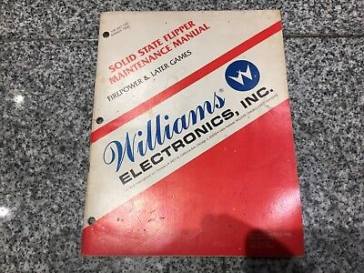 ORIGINAL 1980 Williams Solid State SS PINBALL Machine Flipper MAINTENANCE MANUAL