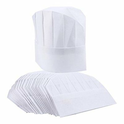 Chef Hats – 24-Pack Disposable White Paper Chef Toques, Chef Supplies, Kitchen