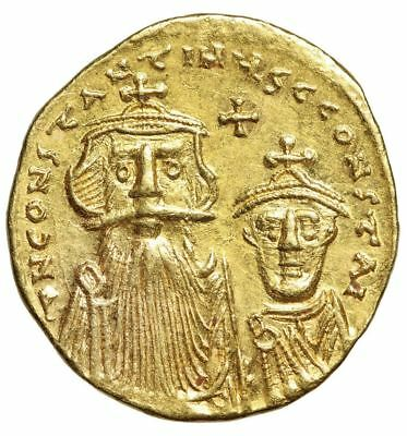 "Constans II & Constantine IV AV Gold Solidus ""Busts & Cross on Steps"" EF"