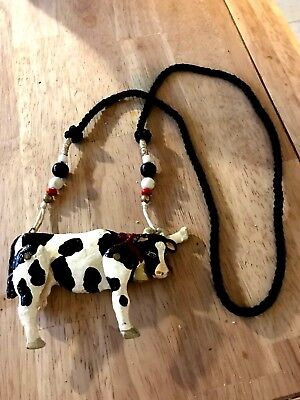 Vtg-Dorian Designs-Cow-1989,Hand Carved Articulated,Pendant,signed,necklace,Rare