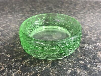 Vintage 1970s Avon Love Nest Round Green Trinket Dish Floral Design Thick Glass