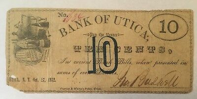 Utica, NY - Jno. Buswell - Bank of Utica - 10 Cent Scrip - Oct 27, 1862
