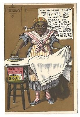Higgins' Laundry Soap Trade Card Black Americana Tuesday Ironing-Forbes Co.