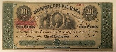 Rochester, NY - City of Rochester/Monroe County Bank - 10 Cents - Dec. 1, 1862