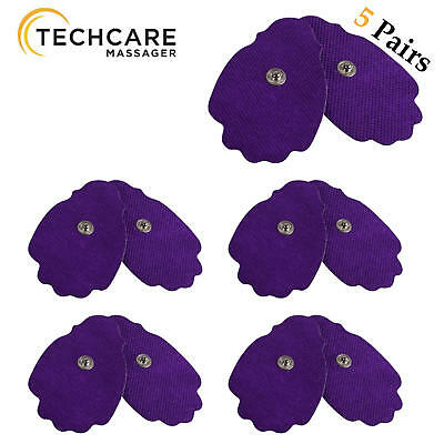 10 Large Snap On Reusable Self-Adhesive Replacement Tens Unit Electrode Pads