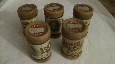 Lot Of 5 Edison Phonograph Cylinder Records In Canisters With Covers