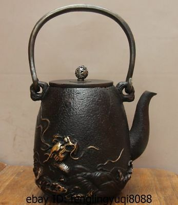 Archaic Japan Iron Silver Gilt Water Sea Dragon God Flagon Kettle Wine Tea Pot