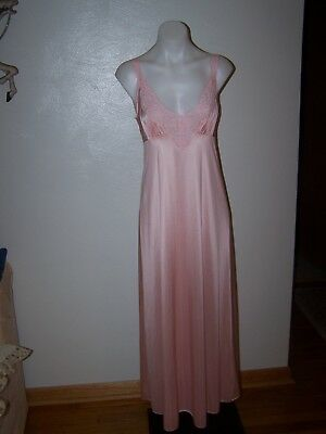 Vintage Vanity Fair Pink Nylon Lace Long Nightgown S Nwot New Old Stock Sissy